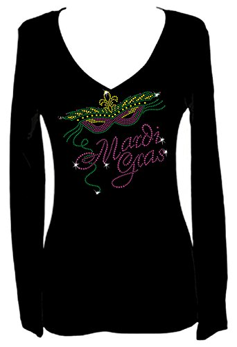 Mardi Gras Rhinestone Party New Orleans V Neck Long Sleeve Tee Shirt (L)