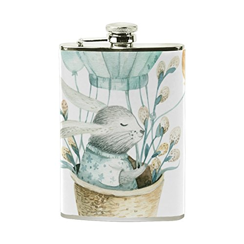 Stainless Steel Wine Pot, Rat Balloon Print Pocket Flask for Storing Whiskey Alcohol Liquor, 8 oz.