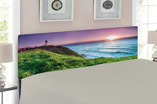 Lunarable Lighthouse Headboard for Queen Size Bed, Byron Bay Lighthouse During Sunrise Nature Hill Dawn Sunbeam Scenic, Upholstered Decorative Metal Headboard with Memory Foam, Violet Pale Blue Green