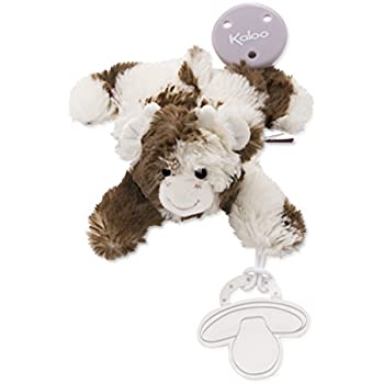 Kaloo Les Amis Doudou Pacifier Holder Cow Plush, Brown/White