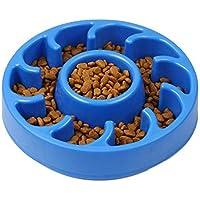 Foir Slow Feeder Dog Bowls Anti Choking Fun Feeder Slow Feed Interactive Bloat Stop Dog Bowl (Blue)