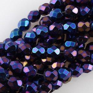 Metallic Blue Iris Czech Fire Polished Glass Facet Beads 4mm (100)