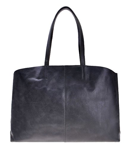 ZLYC Women Classic Leather Tote Commuter Shopper Shoulder Travel Bag with Removable Pouch, Dark Gray ()