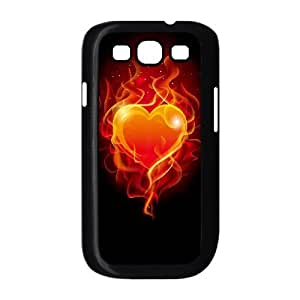 wugdiy Custom Hard Plastic Back Case Cover for Samsung Galaxy S3 I9300 with Unique Design Fire Heart