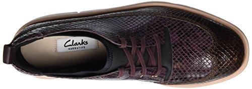 Cordones Nia Combi Morado Zapatos Clarks de Mujer Leather Derby Tri para Aubergine qf7nwI