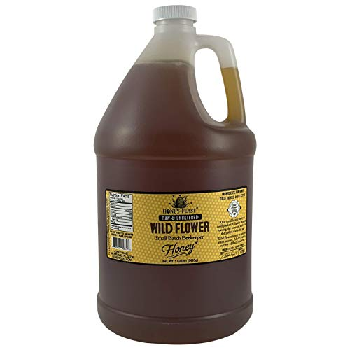 Honey Feast - Raw Wildflower Honey | from American Organic floral sources | 1 Gallon| Unfiltered & Pure Florida Superfood | Local honey Orlando, Miami, Jacksonville, Tampa, Fort Myers