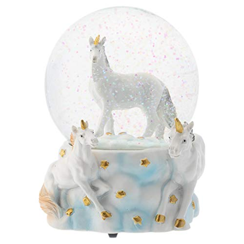 Elanze Designs White Unicorn Friends 100MM Musical Water Globe Plays Tune You are My Sunshine (Globe Musical)