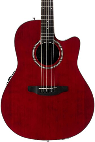 Ovation Applause 6 String Acoustic-Electric Guitar Right, Ruby Red Mid Depth AB24II-RR