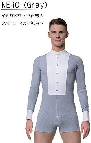 (アールエスアトリエ) RS Atelier 「NERO(Gray)(ストレッチイカ胸シャツ)」|男性用ボディシャツ| 社交ダンス|レッスンウェア|ダンス|メンズ|男|男性|シャツ|ボディ|スタンダード|競技|モダン|タンゴ|ワルツ|デモ|ストレッチ  16.5(42cm)サイズ