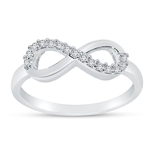 Size - 6.5 - Solid 925 Sterling Silver 6mm Round Cut Infinity Twist Bow Anniversary Ring Wedding Band CZ Cubic Zirconia 1/2 cttw. by Sonia Jewels