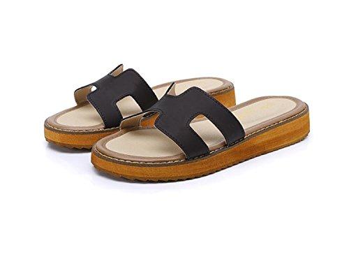 des Romain Porter 34 Style Black 43 Chaussures Tendance Estivale Marron Blanc Pour Pour Sandales Pantoufles DANDANJIE Noir Rondes Femmes Dames de Confortables HqZYYX