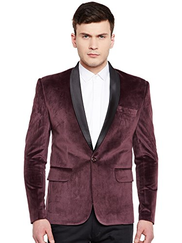WINTAGE Men's Premium Velvet Notch Lapel Tuxedo Coat Blazer Jacket: Wine, 5XL]()