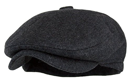 Men's 5 Panel Vintage Style Wool Blend Gatsby Ivy Newsboy Hat (Charcoal, - Style Mens Gatsby
