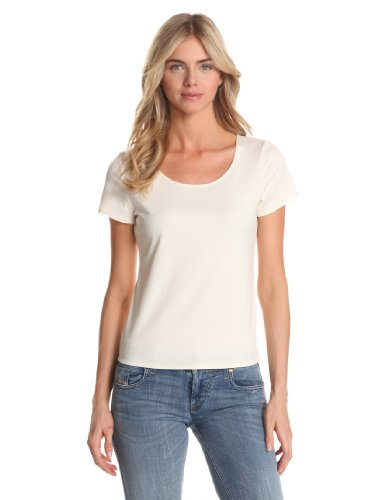 Notations Women's Solid Nylon Spandex Short Sleeve Top, Ivory, Large