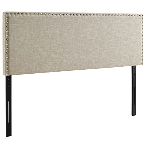 Modway Phoebe Linen Fabric Upholstered King Headboard in Beige with Nailhead Trim ()