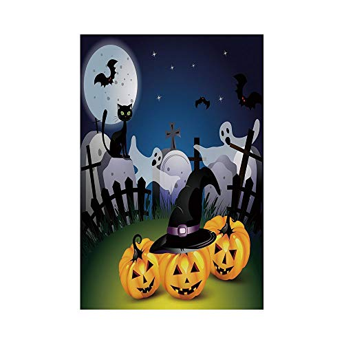 Polyester Garden Flag Outdoor Flag House Flag Banner,Halloween,Funny Cartoon Design with Pumpkins Witches Hat Ghosts Graveyard Full Moon Cat Decorative,Multicolor,for Wedding Anniversary Home Outdoor ()