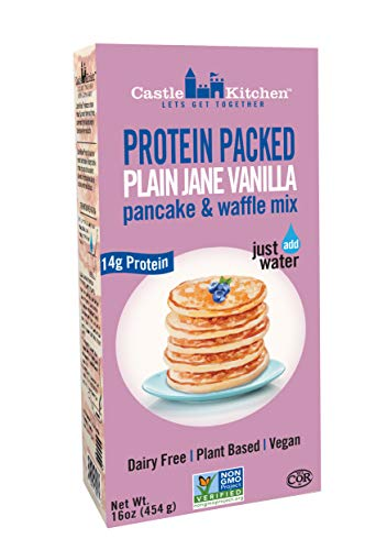 Protein Packed Pancake & Waffle Mix, Plain Jane Vanilla - Dairy-Free & Vegan - Complete Mix, Just Add Water - 16 oz (Plant Protein Mix)