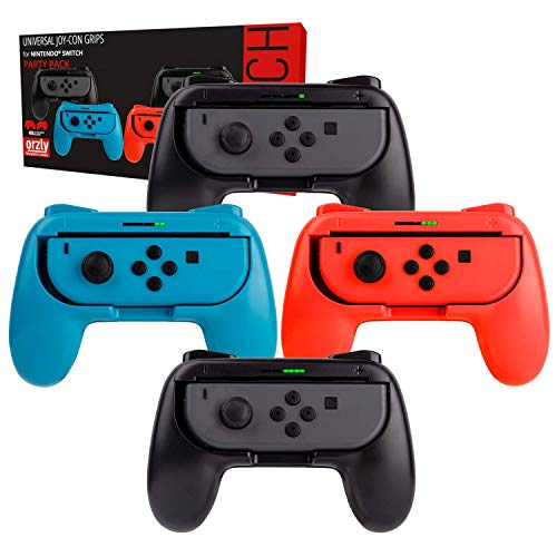 Switch Controller Grips (Party Pack of 4X Orzly Grip Attachments, Super Smash Bros Switch Compatible, for Nintendo Switch JoyCon Controllers) Four Grips (1x Red, 1x Blue, 2X Black)