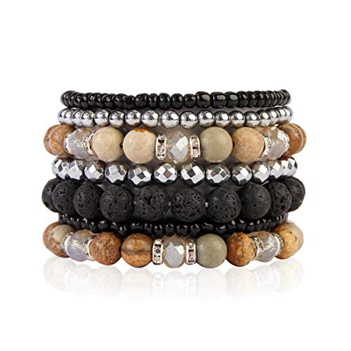 RIAH FASHION Bohemian Lava Stone Hematite Essential Oil Diffuser Multi Strand Bracelet - Healing Aroma Therapy Beaded Natural Volcano Rock Stretch Bangles Lotus ([S-M] 7 Layer Mix - Brown ()
