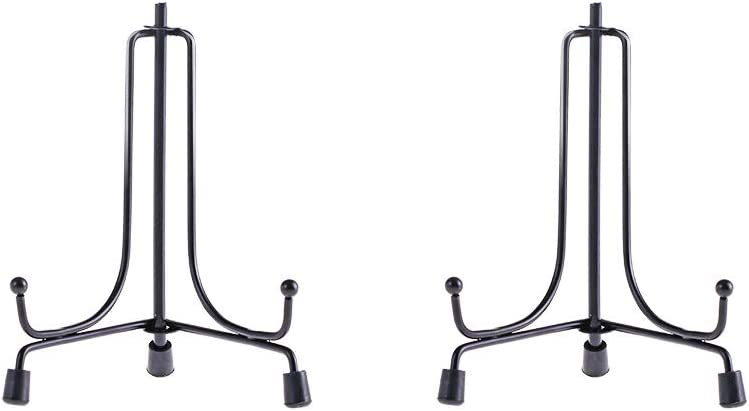 LIONWEI LIONWELI 4inch(2pack) Upgraded Anti-Slip Iron Plate Display Stand Black Easel Display Stand Photo Holder Stand,Displays Picture Frames, Decorative Plates, and Artworks