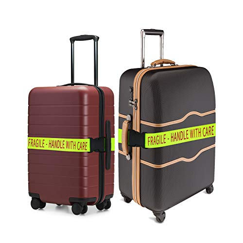 2 Pack - Bright Luggage Straps - Fragile - Handle With Care - For Airports and Travel- Adjustable Strap Fits Almost All Suitcases
