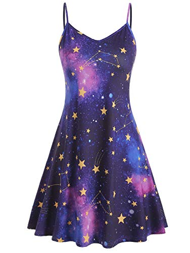 KCatsy Sun Stars Moon Print Plus Size Trapeze Dress -