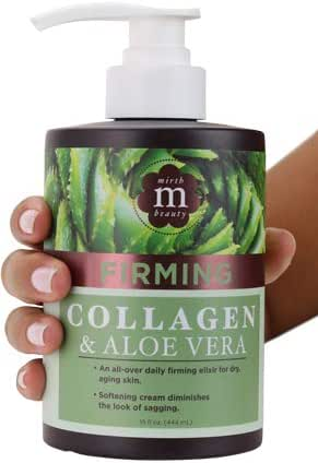 Mirth Beauty Collagen Cream Cream for Face and Body. Collagen Firming Cream with Aloe Vera and Green Tea Extract. Large 15oz jar with pump.