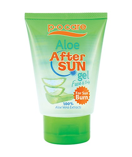 P. O Care Soothing Moisturizing Alcohol Free Non Sticky Sunburn Relief & After Sun Exposure Gel For Face & Body With Aloe Vera Extracts 95 ML White. Natural Skin Conditioner and Hydrator.