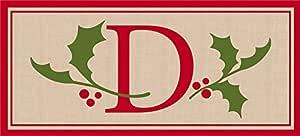 Evergreen Flag 431316D Holly & Berry Letter D Momogram Sassafras Mat