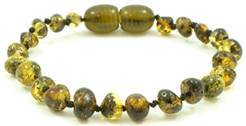 Amber Teething Bracelet / Anklet {0016} - 6.3 inches (16 cm) - Unisex - Hand-Made from Genuine Baltic Amber Beads (6.3 inches (16 cm), Dark Green)