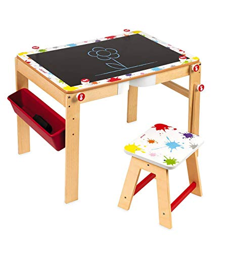 2 in 1 convertible art station for kids desk and stool special magnetic whiteboard and black for Bureau janod