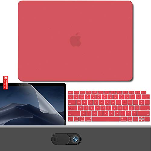 GMYLE MacBook Air 13 Inch Case 2018 Release A1932 with Touch ID Retina Display New Version Bundle, Plastic Hard Shell, Keyboard Cover, Privacy Webcam Cover Slide, Screen Protector Set, Coral Red ()