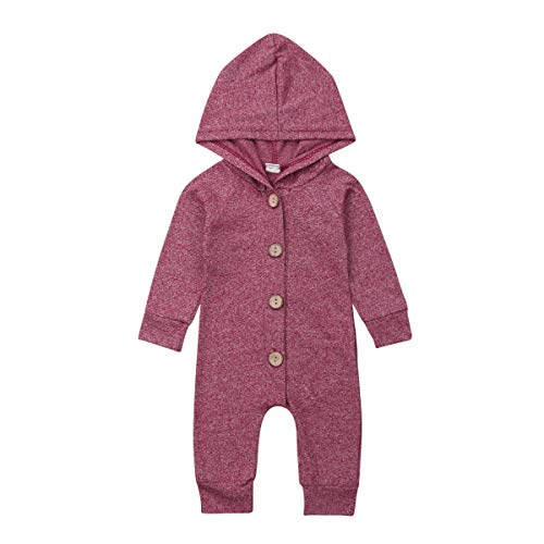 Newborn Kids Baby Boys Cute Solid Color Long Sleeve Hooded Romper Jumpsuit Top Outfits Clothes (12-18 Months, Purple red) - Hooded Top