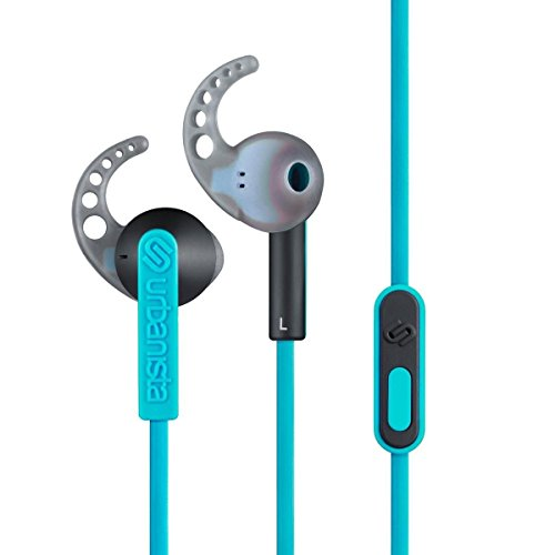 Urbanista Rio Sport Earphones with GoFit, Remote and Mic, Coral Island/Turquoise