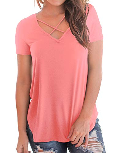 Women's Undershirts V Neck Cross Tops Short Sleeve Summer Basic Tees Plus Size