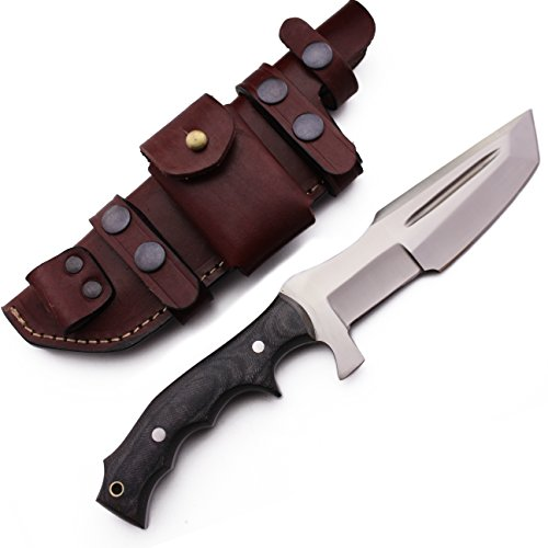 GCS Custom Handmade Black Micarta Handle D2 Tool Steel Tactical Tracker Knife Buffalo Hide Sheath 171