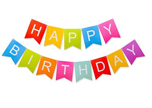 (Keira Prince Crafts Colorful Versatile Happy Birthday Banner, Pre Strung No DIY Party Decorations,)