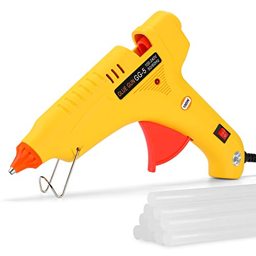 "Hot Glue Gun Full Size 100W Heavy Duty Craft Glue Gun with 10pcs Premium Glue Sticks (0.43'' x 8"") & Removeable Anti-Heat Silicone Nozzle for DIY, Arts & Crafts, Gifts, Home and Office Quick Repairs."