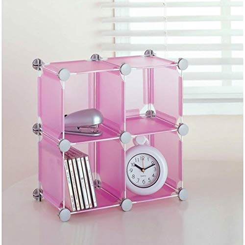 Organize It All Set of 4 Translucent Connecting Storage Cubes - Pink