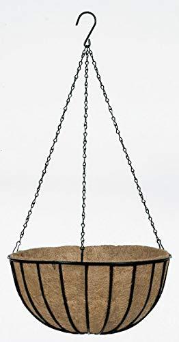 Baskets Outdoor Flower (Gardman R409 Black Traditional Hanging Basket with Coco Liner, 16