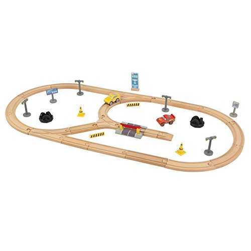 KIDKRAFT Disney Pixar Cars 3 Build Your Own 55 Piece Wooden Racetrack (Mcqueen Racetrack Lightning)