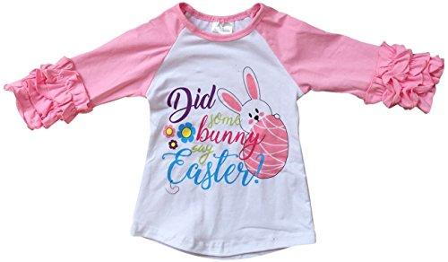 BluNight Collection Little Girl Kids Bunny Ruffle Sleeve Raglan Cotton Shirt Top Tee T-Shirt Pink 7 XXL (Bunny Girls T-shirt)