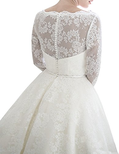 Lafee Bridal Vintage Long Sleeves Lace Wedding Dress Short Tea Length  Bridal Gown