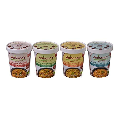 AAHANAS Indian Organic Meal Bowls (Kitchari) - Lentil & Basmati Rice Bowl - Mung Beans & Rice - Quinoa & Lentil - Millet & Lentil - Gluten Free, Vegetarian, Ready-to-Eat Meal in a Cup, Plant-Based Pro