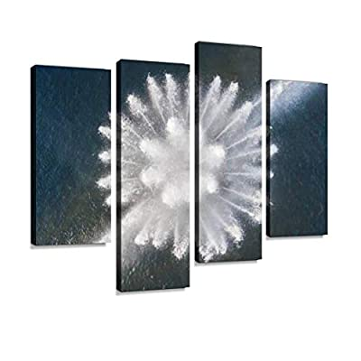 Aerial View of a Flower-Shaped Fountain Canvas Wall Art Hanging Paintings Modern Artwork Abstract Picture Prints Home Decoration Gift Unique Designed Framed 4 Panel