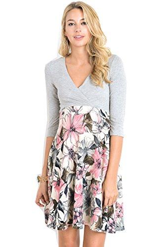 Hello Miz Elbow Sleeve V-Neck Color Block Flower Printed Maternity Nursing Skater Dress (Small, Grey/Pink)