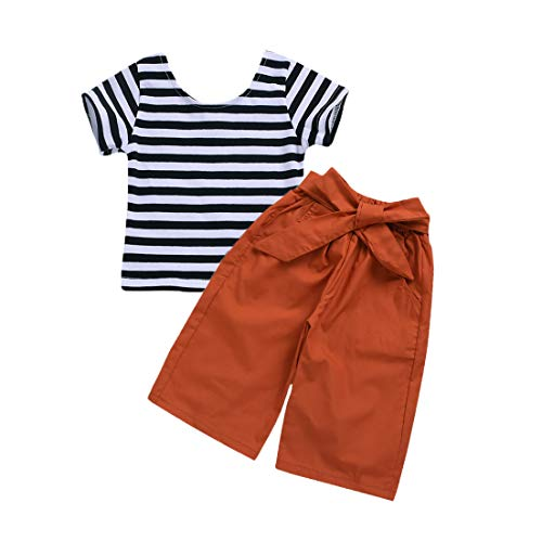 Wiswell Baby Girl Clothes Set Striped Short Sleeve Shirt + Bowknot Long Pants Outfits (Multi, 18-24 Months) - Top Shirt Girls Striped