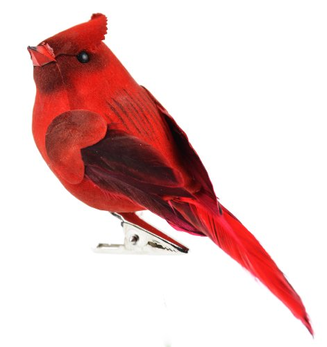 Cardinal Feather - Touch of Nature 20942 Mushroom and Feather Cardinal, 4-Inch, Red