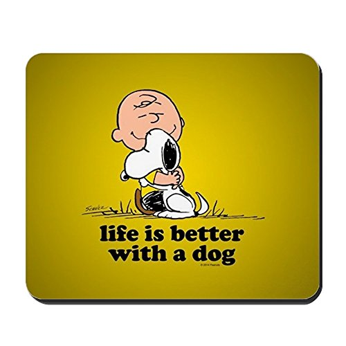 CafePress Charlie Brown and Snoopy Life is Bette Non-Slip Rubber Mousepad, Gaming Mouse Pad (Snoopy Computer Mouse)