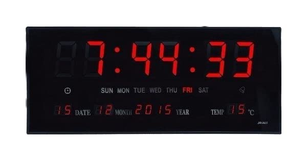7945fdbce3c Relógio De Parede Grande Led Digital Calendario Temperatura  Amazon.com.br   Casa